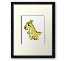 Cute illustration of a Parasaurolophus dinosaur. Framed Print