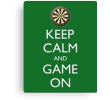 KEEP CALM AND GAME ON - Dart Board Canvas Print
