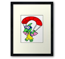 Illustration of a pterodactyl parachuting. Framed Print