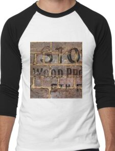 Vintage writing on brick wall  Men's Baseball ¾ T-Shirt