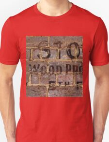 Vintage writing on brick wall  Unisex T-Shirt