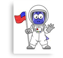 Illustration of a Parasaurolophus astronaut holding American Flag. Canvas Print