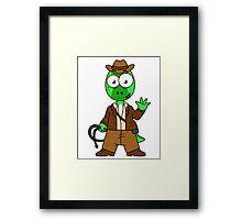 Illustration of Parasaurolophus dressed as Indiana Jones. Framed Print