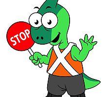 Illustration of a Parasaurolophus traffic enforcer. by StocktrekImages