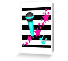 Rockstar Teal and Pink Microphone on Stripes Greeting Card