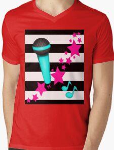 Rockstar Teal and Pink Microphone on Stripes Mens V-Neck T-Shirt