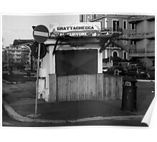 Ostia seafront: kiosk and road sign Poster