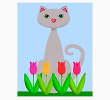 Spring Cat Easter Lilies and Tulips Unisex T-Shirt