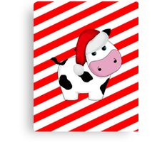 Christmas Cow in Santa Hat on Stripes Canvas Print