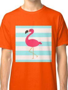 Pink Flamingo on Stripes Classic T-Shirt