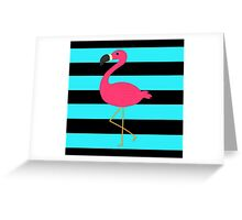 Teal and Black Striped Pink Flamingo Greeting Card