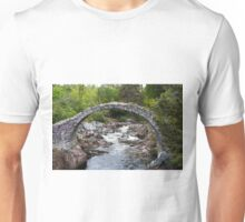 Packhorse Bridge covered in pink flowers at Carrbridge, Highlands, Scotland, Unisex T-Shirt