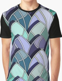 pattern of leaves with veins and shadow, clear graphic forms, stained glass Graphic T-Shirt