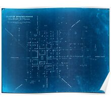 Civil War Maps 1430 Plat of Murfreesboro Taken from a top'l sketch of Murfreesboro and its environs Surveyed under the direction of Capt N Michler Top'l Engs USA Inverted Poster