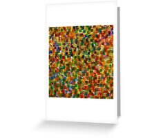 Colorful Squares on Pink Diagonal Strokes  Greeting Card