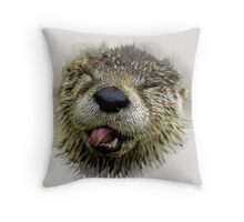 Rude Otter Throw Pillow