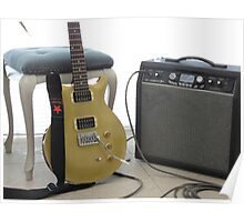 gold top electric guitar and amplifier	 2 Poster