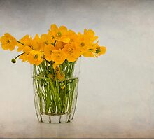 A glass filled with buttercups by Karen Havenaar