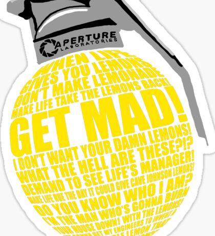 Portal 2 combustible lemon quote Sticker