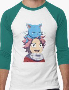 Fairy Tail - Happy and Natsu Cute Men's Baseball ¾ T-Shirt