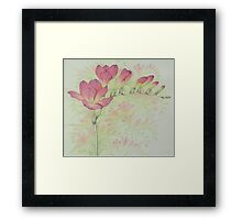 Red Freesia Flower Sprig in Coloured Pencil Framed Print