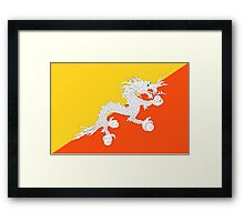 BHUTAN, TIBET, Flag of Bhutan, Tibetan, Buddhist, Thunder, Dragon, Bhutan Flag, National flag of Bhutan Framed Print