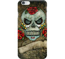 Black scull printed designer I-phone device – case by Marijke Verkerk Design iPhone Case/Skin