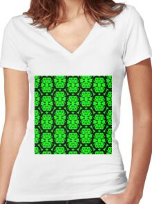 Audrey Black Green Pattern Women's Fitted V-Neck T-Shirt