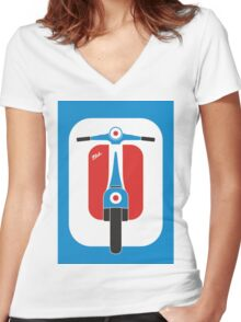 Beautiful Vespa scooter wheels french flag color  Women's Fitted V-Neck T-Shirt