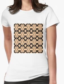 Audrey Black on Peach Pattern Womens Fitted T-Shirt