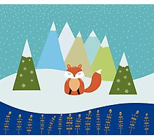 Fox Illustration - Let It Snow Photographic Print