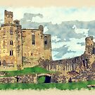 Warkworth Castle, Watercolor And Sketch by Moonlake