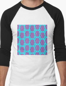 Audrey Cyan Violet Purple Pattern Men's Baseball ¾ T-Shirt