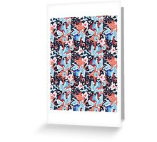 beautiful pattern of plants and birds lovers Greeting Card