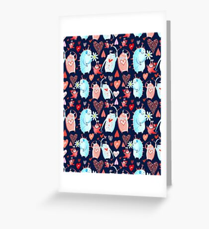 In love with a beautiful pattern with monsters Greeting Card