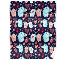 In love with a beautiful pattern with monsters Poster