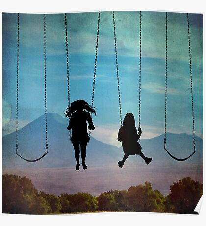 Friends on a Swingset Poster