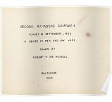 Civil War Maps 1577 Second Manassas Campaign August 17 - September 1 1862 Poster