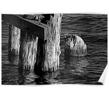 Old Dock Parts 2 BW Poster