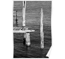 Old Dock Remains BW Poster