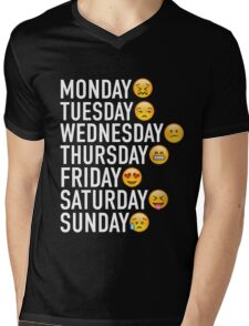 Moods of the Week Expressed Through Emojis Mens V-Neck T-Shirt