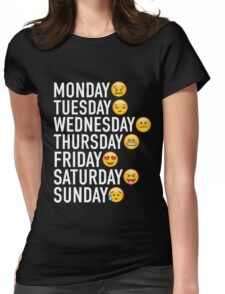 Moods of the Week Expressed Through Emojis Womens Fitted T-Shirt