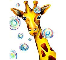 Bubbles and A Giraffe Photographic Print