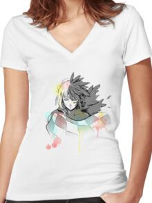Howl watercolor  Women's Fitted V-Neck T-Shirt