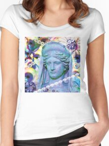 aqua glitch sees forever Women's Fitted Scoop T-Shirt