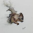 ORIGINAL Squirrel painting watercolor painting original Animal Painting by pinetreeart