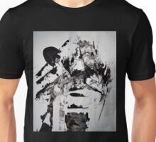 Ice Phoenix Falling on the Ground - New Year BIG Monochromatic Original mixed media painting Unisex T-Shirt