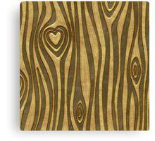 Golden Wood Grain Heart Canvas Print