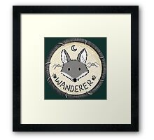 Wanderer Wolf Embroidery Style Patch Framed Print
