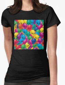 rainbow alien pattern Womens Fitted T-Shirt